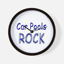 Car Pools Rock Wall Clock