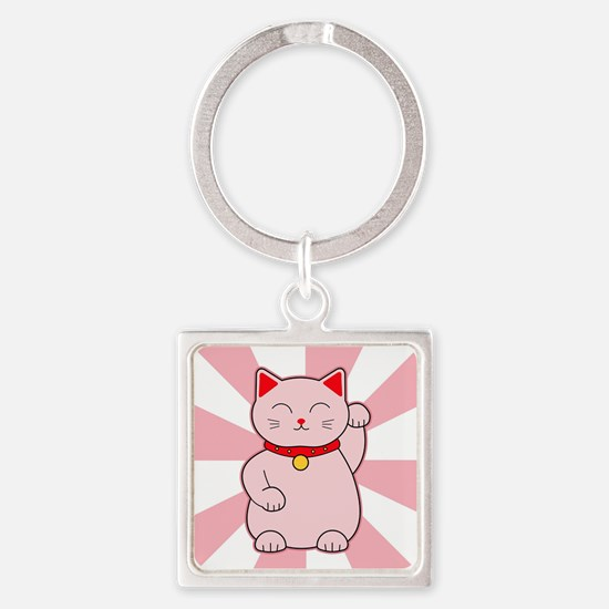 Pink Lucky Cat Square Keychain