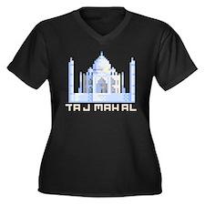 """Pixel Taj Mahal"" Women's Plus Size V-Neck Dark T-"