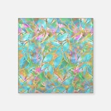 """Floral Stained Glass 1 Square Sticker 3"""" X 3&"""