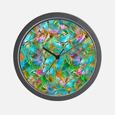 Floral Stained Glass 1 Wall Clock