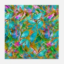 Floral Stained Glass 1 Tile Coaster