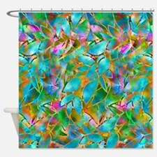 Floral Stained Glass 1 Shower Curtain
