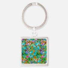 Floral Stained Glass 1 Square Keychain