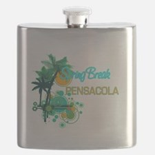 Palm Trees Circles Spring Break PENSACOLA Flask