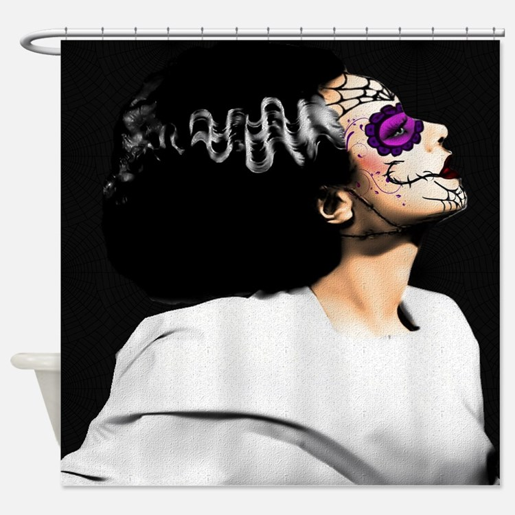Day Of The Dead Monster's Bride Shower Curtain