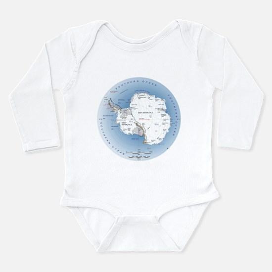 Map Antarctica Long Sleeve Infant Bodysuit