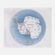 Map Antarctica Throw Blanket