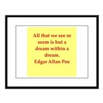 edgar allan poe quote Large Framed Print