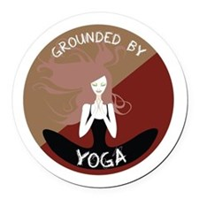 Grounded By Yoga Round Car Magnet