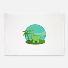 Cartoon Brontosaurus 5'x7'Area Rug