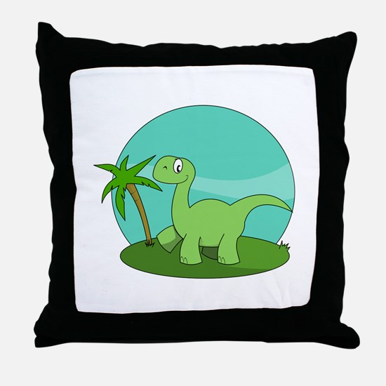 Cartoon Brontosaurus Throw Pillow