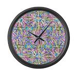 Pastel Bursts 1 Large Wall Clock