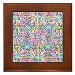 Pastel Bursts 1 Framed Tile