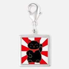 Black Lucky Cat Silver Square Charm
