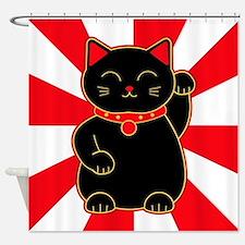 Black Lucky Cat Shower Curtain