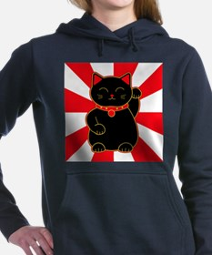 Black Lucky Cat Women's Hooded Sweatshirt
