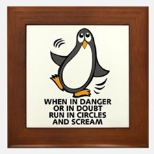 When in Danger or in Doubt Funny Pengu Framed Tile