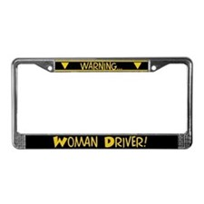 Warning, Woman Driver License Plate Frame