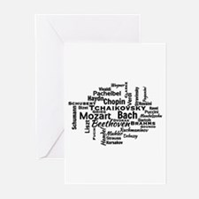 Classical Composers Word Cloud Greeting Cards