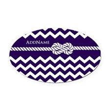 Violet Chevron Rope Personalized Oval Car Magnet