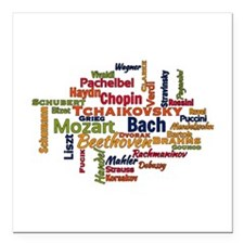 Classical Composers Word Cloud Square Car Magnet 3