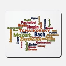 Classical Composers Word Cloud Mousepad