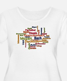 Classical Composers Word Cloud Plus Size T-Shirt