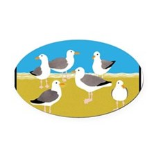 Gang of Seagulls Oval Car Magnet