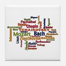 Classical Composers Word Cloud Tile Coaster
