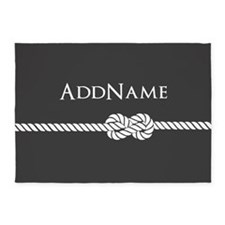 Gray Rope Knot Personalized 5'x7'Area Rug