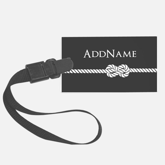 Gray Rope Knot Personalized Luggage Tag