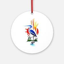 Blue Heron Sun and Marsh Ornament (Round)