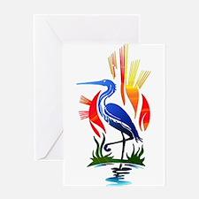 Blue Heron Sun and Marsh Greeting Cards
