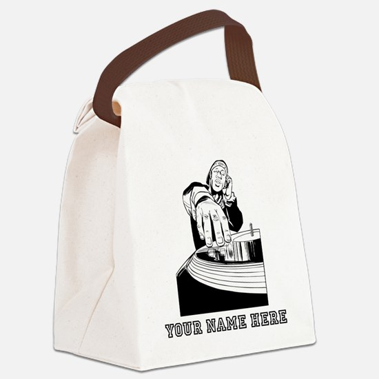 Custom DJ Spinning Records Canvas Lunch Bag