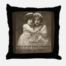 Sister Inspirational Quote Vintage girls Throw Pil