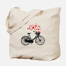 Vintage Bike with Hearts Tote Bag