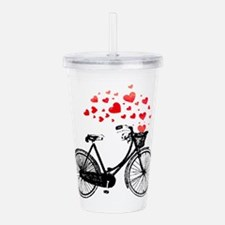 Vintage Bike with Hearts Acrylic Double-wall Tumbl