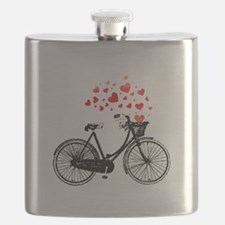 Vintage Bike with Hearts Flask
