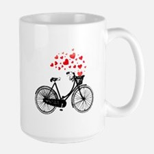 Vintage Bike with Hearts Mugs