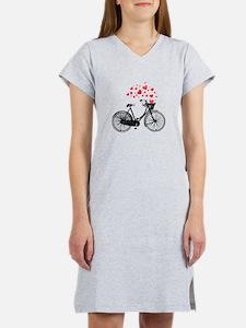 Vintage Bike with Hearts Women's Nightshirt