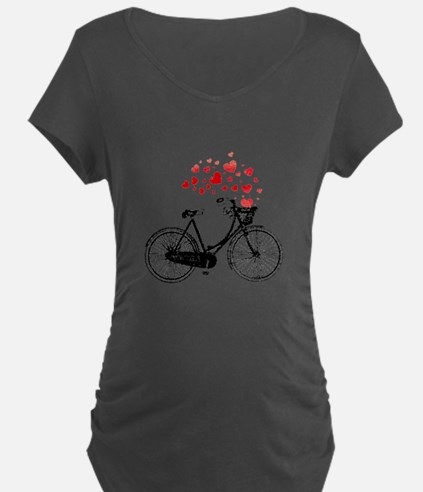 Vintage Bike With Hearts Maternity T-Shirt