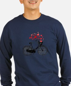 Vintage Bike With Hearts Long Sleeve T-Shirt