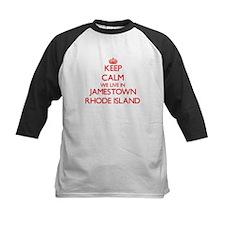 Keep calm we live in Jamestown Rho Baseball Jersey