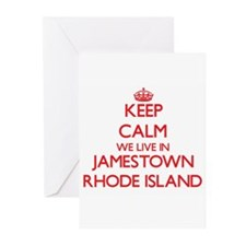 Keep calm we live in Jamestown Rhod Greeting Cards