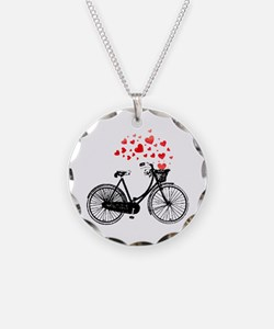 Vintage Bike With Hearts Necklace