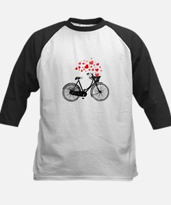 Vintage Bike with Hearts Baseball Jersey