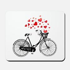 Vintage Bike with Hearts Mousepad