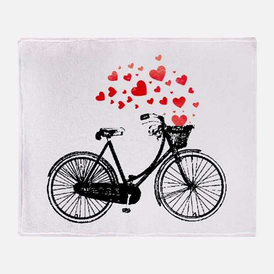 Vintage Bike with Hearts Throw Blanket
