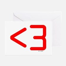 less than 3 (red) Greeting Cards (Pk of 10)